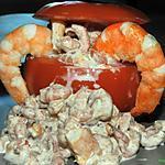 recette Tomates farcies aux crevettes et scampis relevés