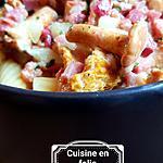 recette Pates carbonara aux chanterelles et à l'ail