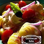 recette Gnocchis au chèvre cendré, thym,tomates,oignon rouge