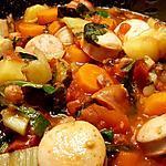 recette Mijoté de saucisses aux blettes, épinards et tomates