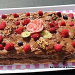 recette Génoise à la mousse au chocolat et framboises
