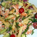 recette Salade de penne regate crevettes et avocat