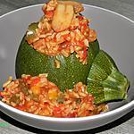 recette Courgettes farcies aux riz complet et légumes