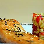 recette Filet de saumon mariné et son risotto au poivron rouge