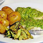 recette Filet de cabillaud au pesto de vert de courgette et pommes de terre grenaille