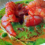 """recette crevettes, crème de petits pois, menthe et bacon.(recette du chef """"le majestic"""" à Barcelone."""