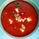 recette Soupe aux tomates anciennes , féta, ail, basilic