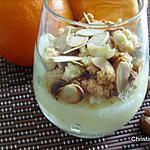 recette Petites crème d'orange et son crumble aux amandes