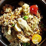 recette quinoa aux lentilles ,artichauts ,mozzarella,tomates et petits pois