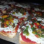 recette Pain de mie Pizza poivrons champignons