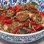 recette Thon mariné aux nouilles et aux poivrons