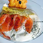recette Verrine à la crème d'artichaut et thon en tapenade accompagnée de saumon fumé