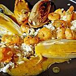 recette Crevettes aux endives caramelisées à l'orange,coco,gingembre
