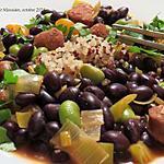 recette Poêlée de merguez aux haricots noirs +