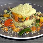recette Timbale de couscous au haché de boeuf et ses légumes multicolores