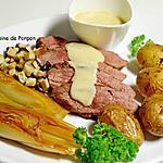 recette Magret de canard garni de sauce au foie gras, pommes de terre, chicons et champignons
