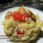 recette Risotto parfumé au basilic avec des moules et des tomates cerise