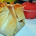 recette Croustillant de saumon à la crème de poireaux champignons