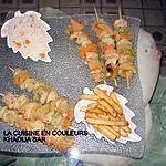 recette Brochettes de crevettes et de légumes/accompagnements:salade de riz/frites
