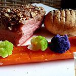 recette Quasi de veau cuisson lente au crumble de noix de pécans, noisette et sirop d'érable