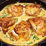 recette Poulet et épinards dans une sauce crémeuse au paprika