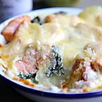 recette Gratin de pomme de terre, saumon et épinard