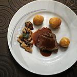 recette Rôti de biche sauce au pain d'épice, cèpes et pommes dauphine