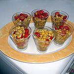 Verrines de maïs au pesto et tomates cerises