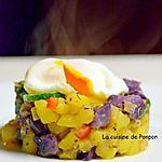 recette Tour de vitelotte, courgette et butternut garnie d'un oeuf poché