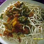 recette nouilles sautées aux petits légumes et à l'huile de coco