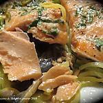 recette Filet de truite et spaghettis de courgette sur plaque
