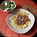 recette Pâtes farcies minute, sauce express aux champignons