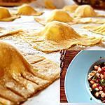 recette Ravioles maison au chèvre, ratatouille et pois chiches