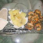recette Crevettes sautées/pommes de terre vapeur