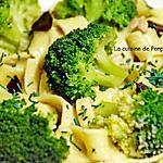 recette Pâtes nids à la crème de brocoli et ail noir, végétarien