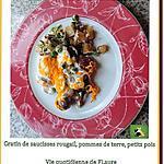 recette Gratin de saucisses rougail, pommes de terre, petits pois