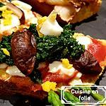recette Brushetta épinards Shitakes et oeuf