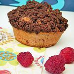 Muffins aux framboises crumbelisés au chocolat