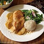 recette Escalopes de poulet poêlées aux pommes + bis