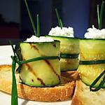 recette Courgettes grillées et fromage frais de chèvre à la ciboulette...