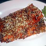 recette Filet de saumon,miel,gingembre, graines de sésame