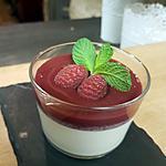 recette panacotta thé matcha et coulis de fruits rouge