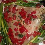 recette Aile de raie aux asperges vertes et dés de tomates