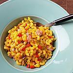recette Risotto de coquillettes aux poivrons jambon et épices à paella