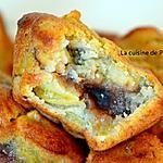 recette Muffin banane, pomme, poudre d'écorce de combava et son coeur marron