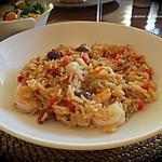 recette Paella aux crevettes à la grecque +