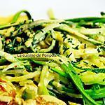 recette Tagliatelles de courgette et brochettes à la sauce moutarde, végétarien