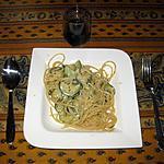 recette Pâtes aux courgettes, sauce à l'ail et au citron
