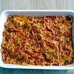 recette pavé de cabillaud sur lit de riz au chorizo