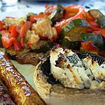 recette Poëlée courgettes & poivrons rouges, et champignons au four